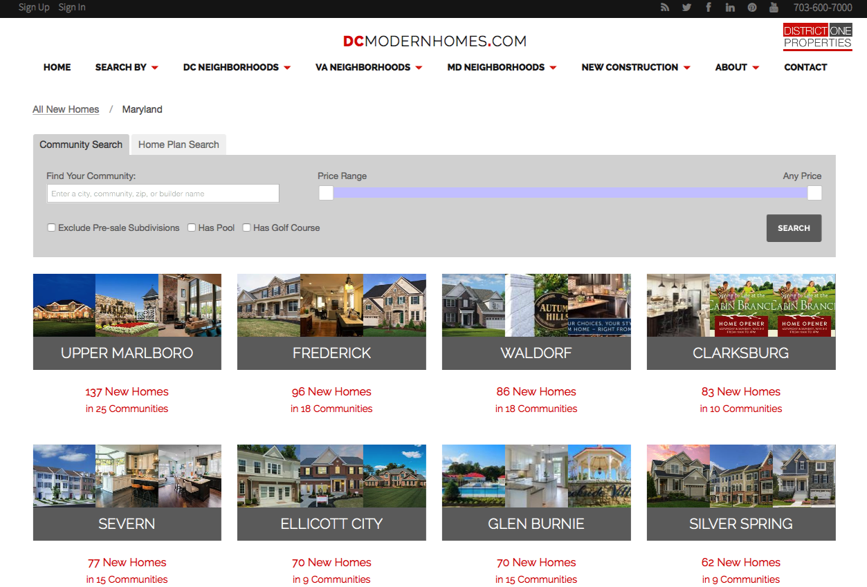 Search Washington DC Area New Construction Communities